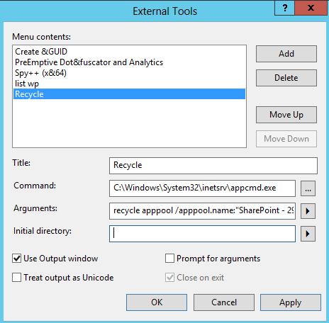Visual studio : recycle application pool & get iis process id   FDI